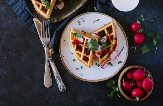 SAVORY FENNEL CHIVE WAFFLES WITH HARISSA HONEY DRIZZLE