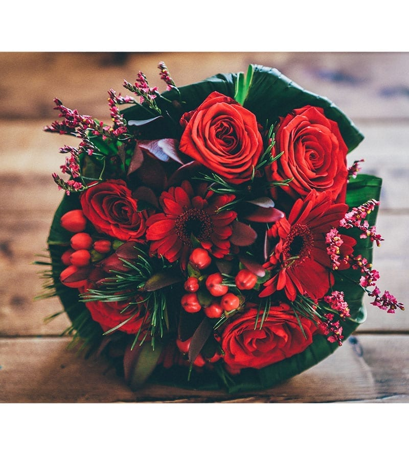 Deep Red Color Floral Bouquet