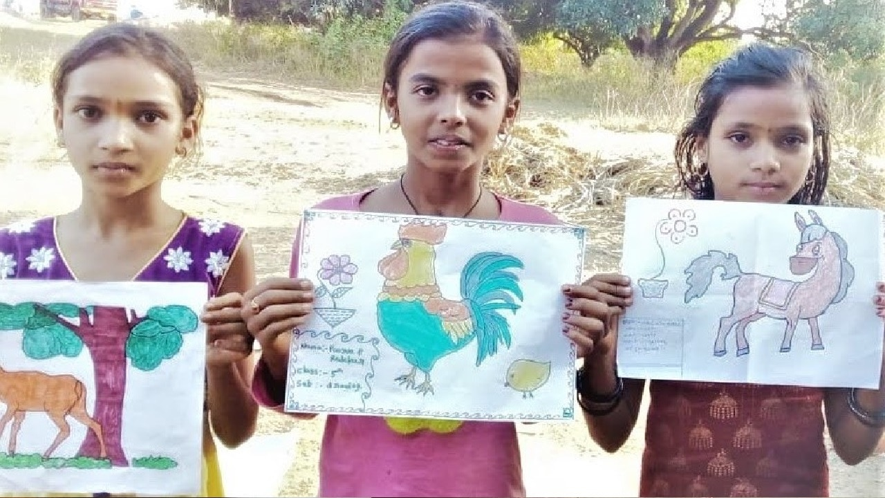 Drawings by girls from Haliyal Cluster
