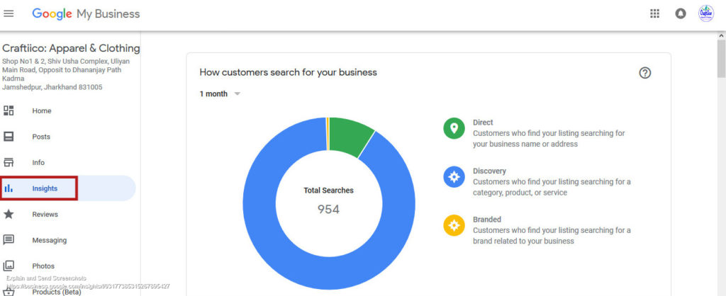 Insight report of business listing for Google Map and search