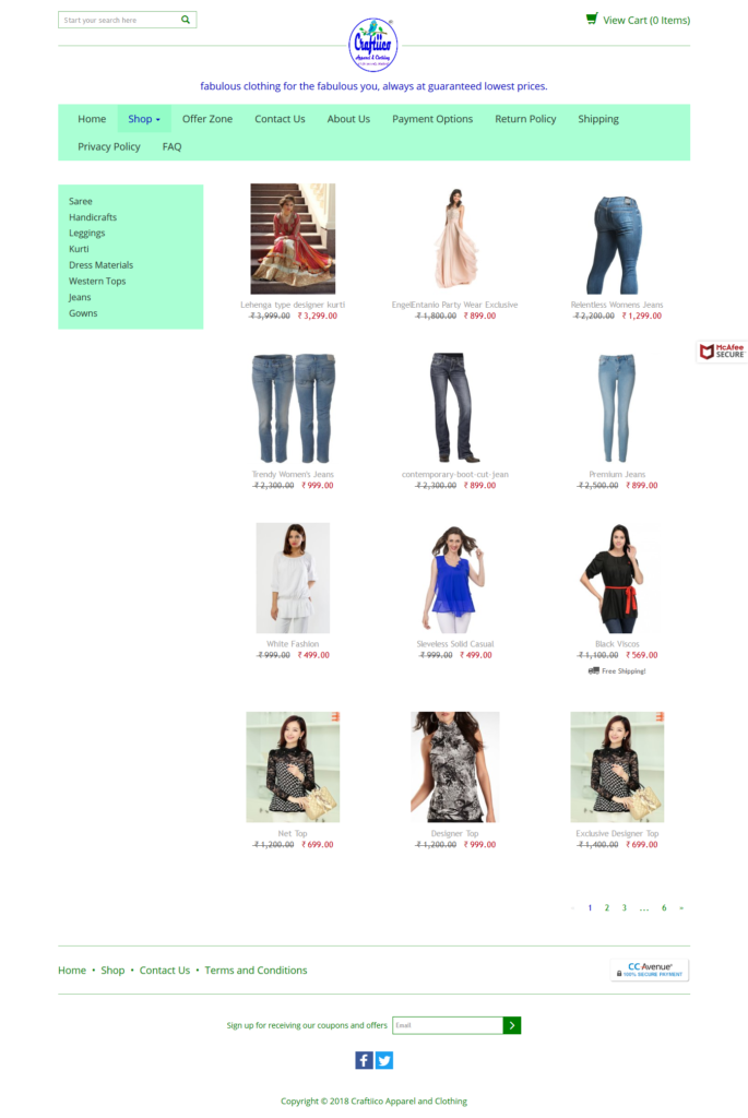 online store or eCommerce