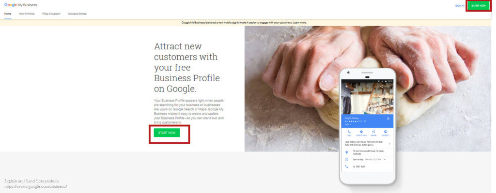 Screenshot: Google My Business starting page