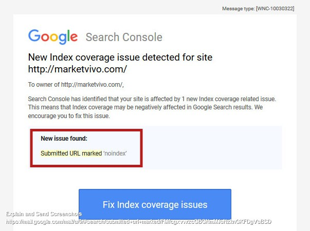 Submitted URL marked 'noindex' notification by mail
