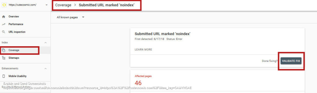 'Submitted URL marked noindex' in Goggle Search Console: Validate Fix