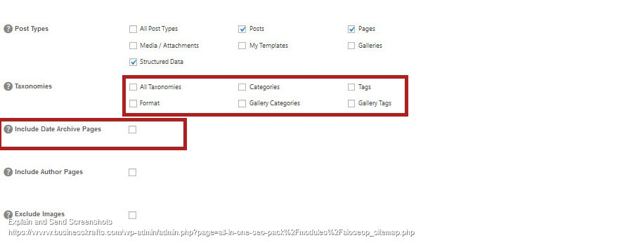 XML sitemap setting for Search Console