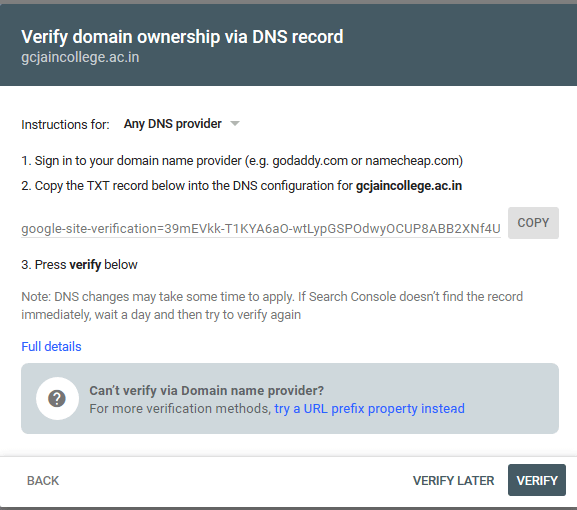 Verify domain ownership through DNS record