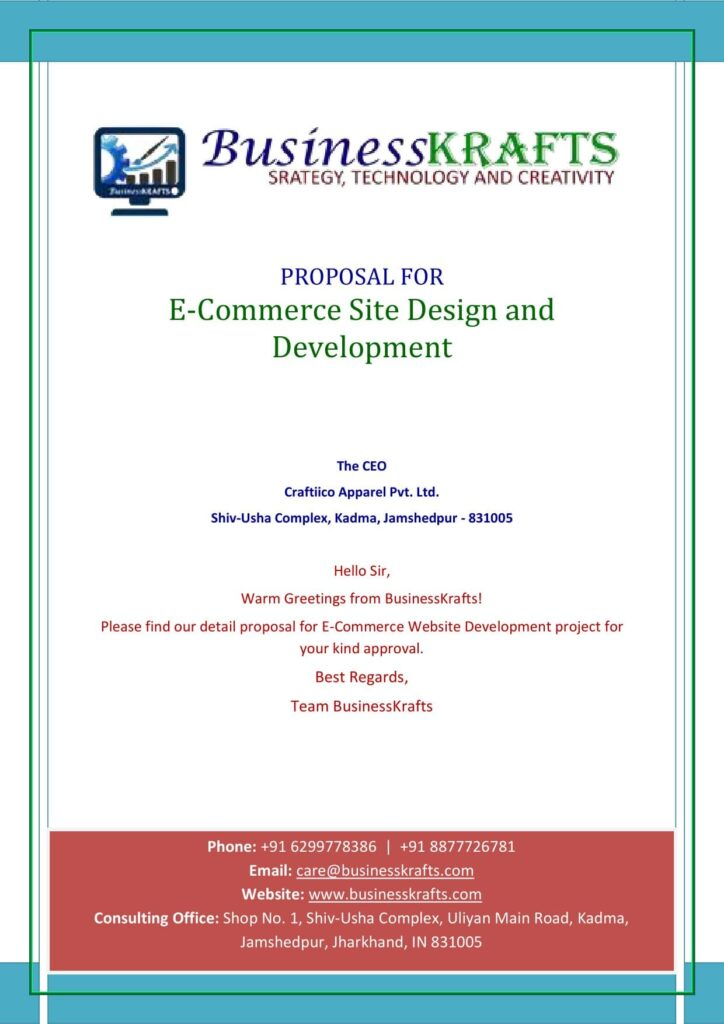Example of website design proposal - cover page