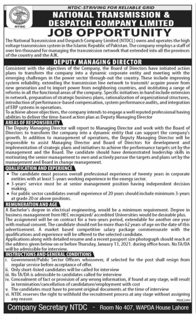 National Transmission and Dispatch Company Limited Lahore