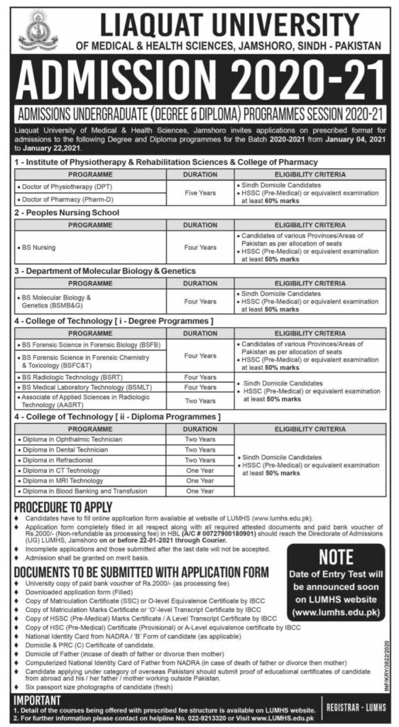 Liaquat University of Medical and Health Sciences Jamshoro Admissions 2020-21