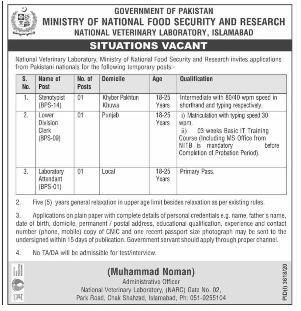 Ministry of National Food Security and Research Islamabad Jobs