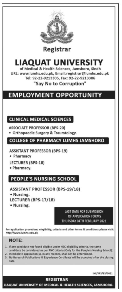 Liaquat University of Medical and Health Sciences Jamshoro Jobs