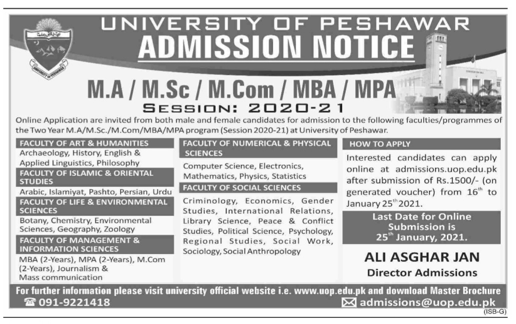 University of Peshawar Admissions in Masters Program 2021