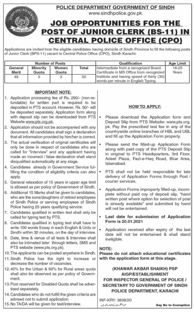 Police Department Government of Sindh Jobs