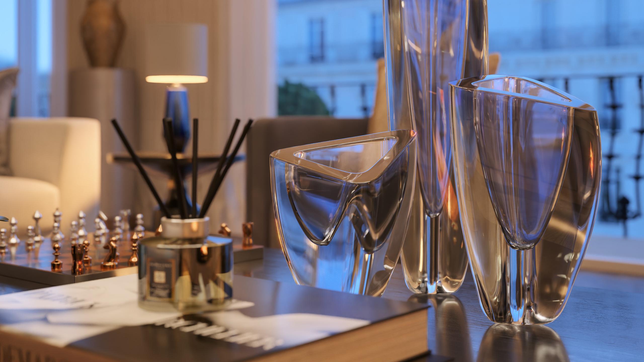 Close up of glassware for an interior design shoot