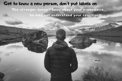 Get know new person, don't hang labels