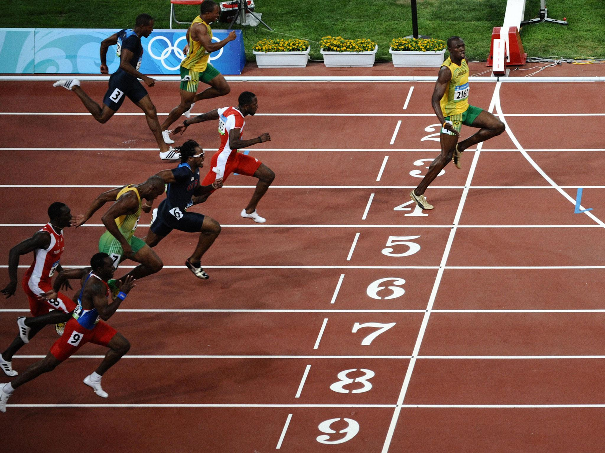 Usain Bolt during 2008 Beijing Olympics 100m Final