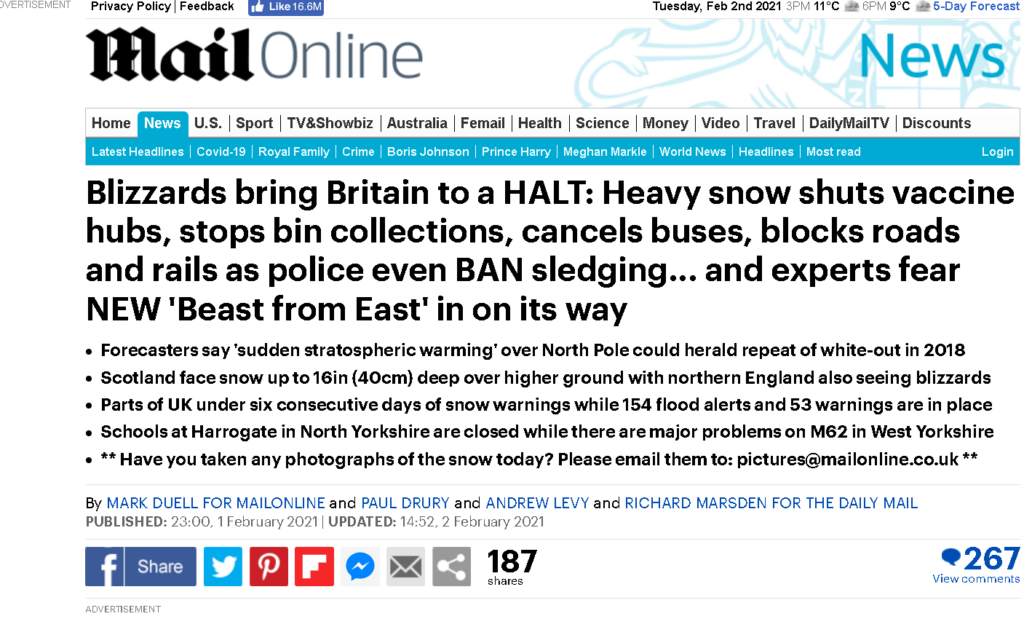 Of course, at last a Beast from the East is upon us....and it is experts not bookies doing the prediction