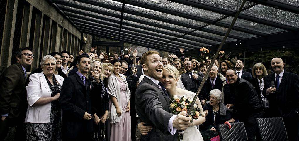 bride and groom selfie at rivington hall barn