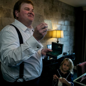 groom receiving gift at hotel zaza houston