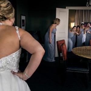 bride revealed to bridesmaids