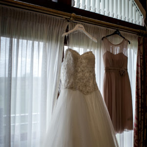 wedding gown and flower girl dress