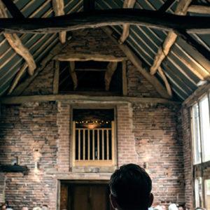 wedding ceremony in the oat barn packington moor