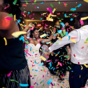 eastwood hall wedding reception confetti canon