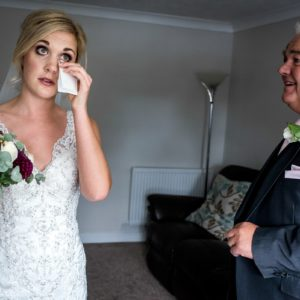 bride and father before ceremony