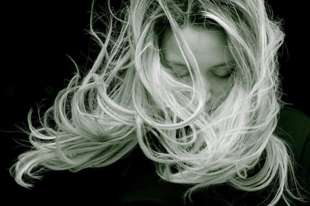 beautiful, woman, hair