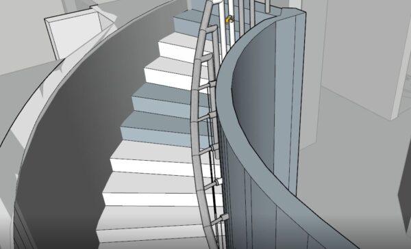 Sketchup İç Merdiven Çizimi