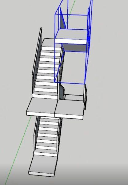 Sketchup merdiven katlarının tamamlanması