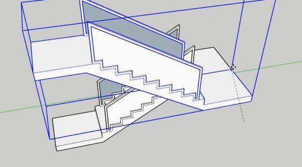 Sketchup merdiven katlarının yerleşimi