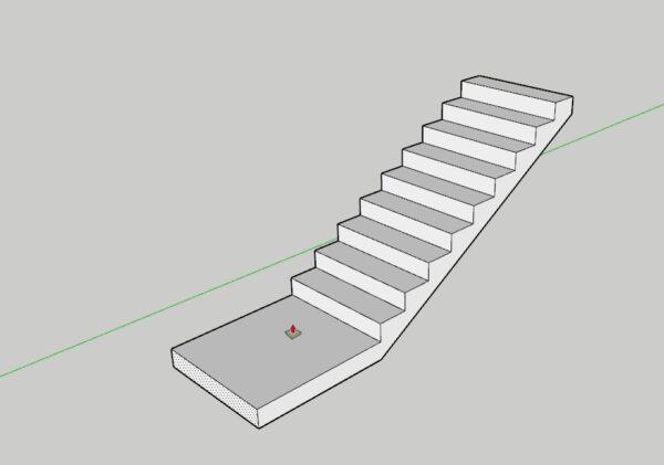 Sketchup merdiven sahanlık yapımı