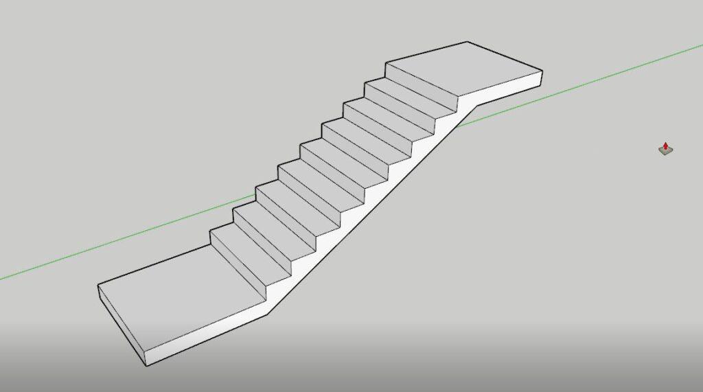 sketchup merdiven sahanlık çizimi