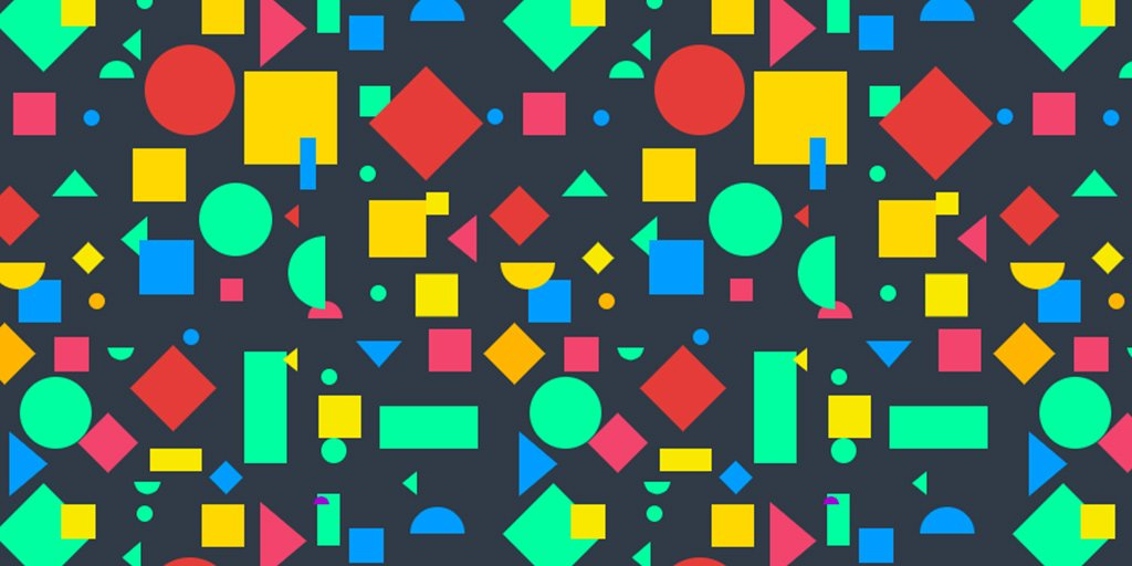 An image of flat shapes forming random patterns in red, amber and green on top of black background