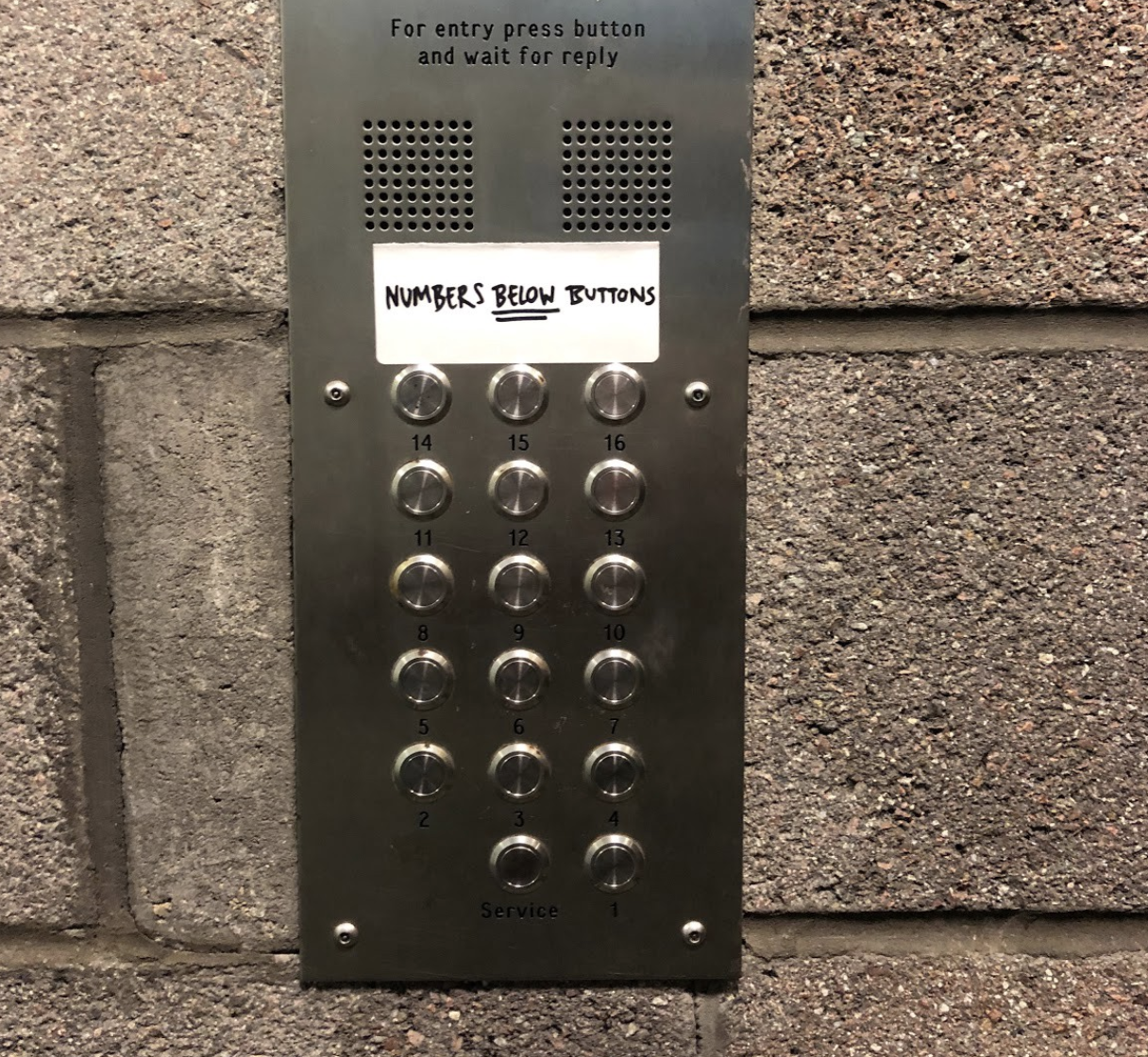 Buzzer panel with numbers 1 to 14 listed. A sticker sits above it saying, numbers below buttons