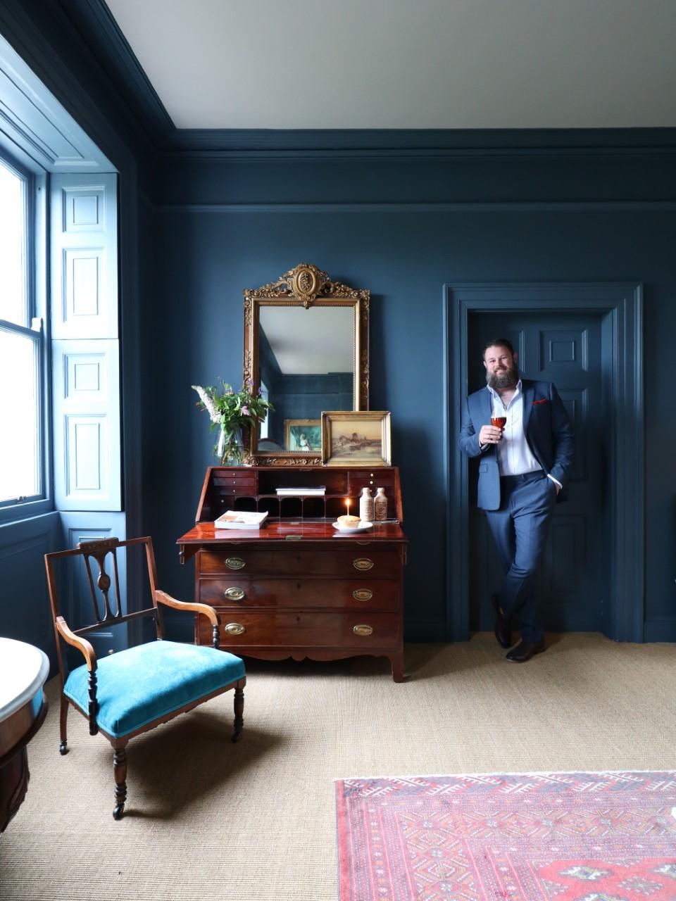 blue bedroom living room drawing room sisal bureau antique furnitire interior design manwithahammer
