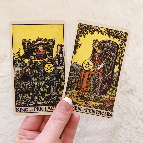 The King and Queen of Pentacles in a love Tarot reading combination
