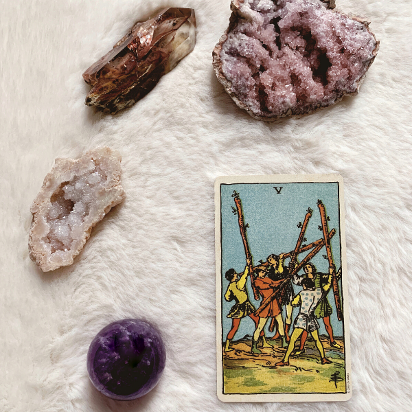 The Tarot Five of Wands for relationships, love, outcome, future, ex returning, yes or no.