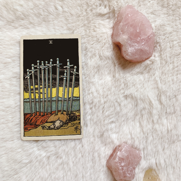 The Tarot Ten of Swords for relationships, love, outcome, future, ex returning, yes or no.