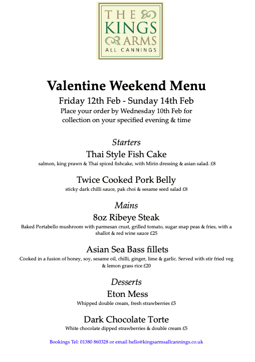 Valentine Weekend Specials Friday 12-14th February