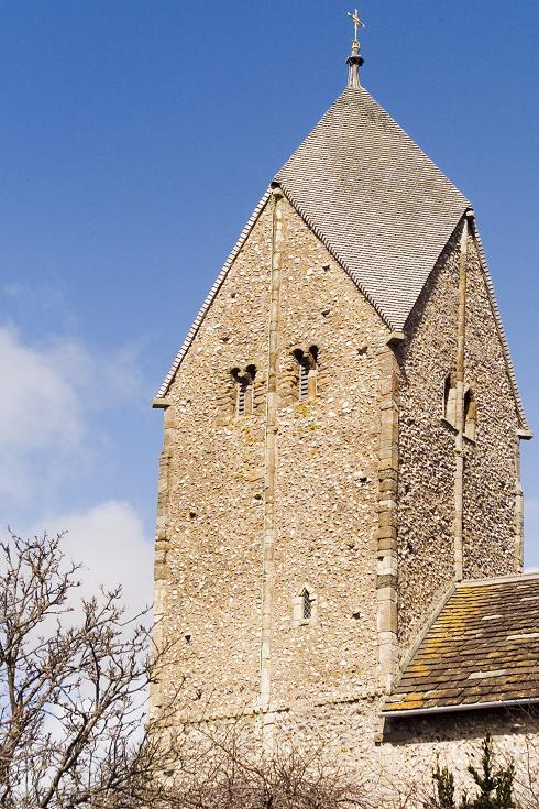 The Tower, showing the Saxon windows and Rhenish helm