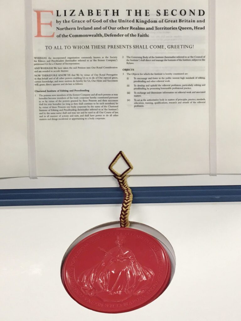 Royal charter and seal