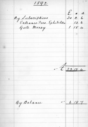 Ham Horticultural Society Cash Book Extract 1892 - 1