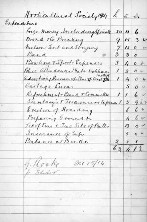 Ham Horticultural Society Cash Book Extract 1914 - 2
