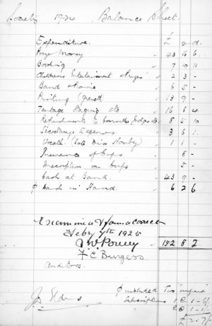 Ham Horticultural Society Cash Book Extract 1924 - 2