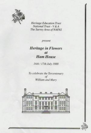Ham House Heritage in Flowers Programme 1988