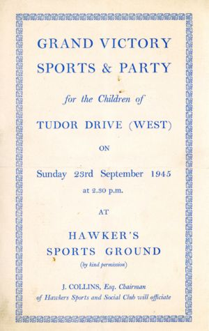 Victory Party Hawkers Sports Ground Announcement Page 1 23rd September 1945