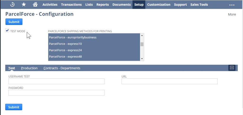 NetSuite Parcelforce Integration