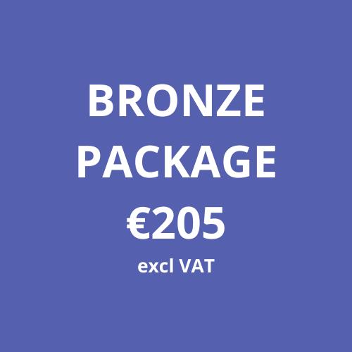 BRONZE PACKAGE €205 excl VAT